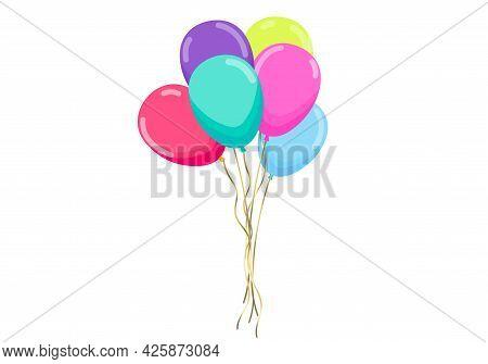 Balloons . Festive Decoration, Party, Holiday Decoration. Birthday Greetings, Wedding. Set Of Realis