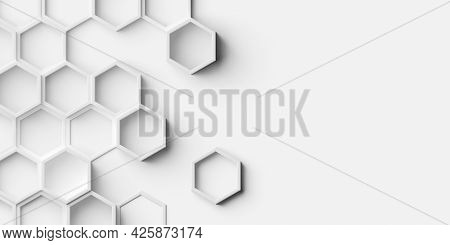 Random Shifted White Open Honeycomb Hexagon Background Wallpaper Banner Pattern With Copy Space, 3d