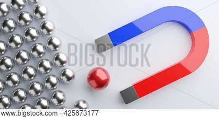 Magnet Attracting Red Ball From Group Of Silver Spheres On Grey Background, Business Marketing Attra