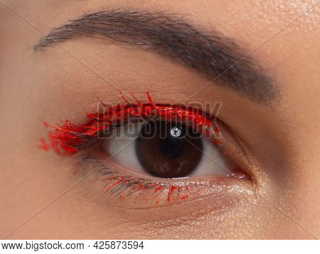 Glamour Close-up Portrait Of Beautiful Woman Model Face With Winged Bright Red Eyeliner Make-up, Cle
