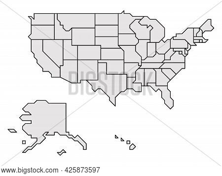 Grey Simplified Map Of Usa, United States Of America. Retro Style. Geometrical Shapes Of States With