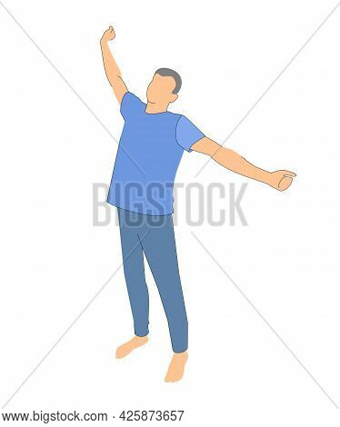 Man Waving His Arms. Man Silhouette. Pull Up In The Morning. Morning Work-out