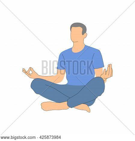 Meditation. The Man Is Sitting Cross-legged. Illustration On White Background