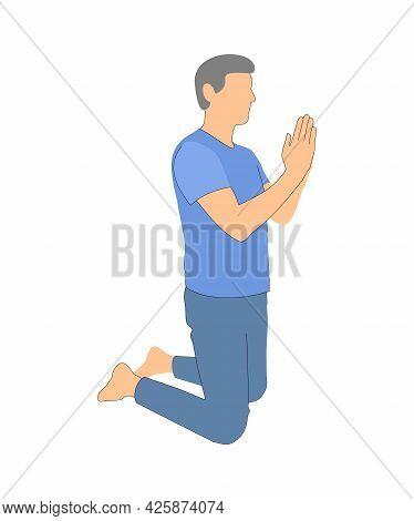 Prayer. Man Kneeling Praying. Silhouette On White Background