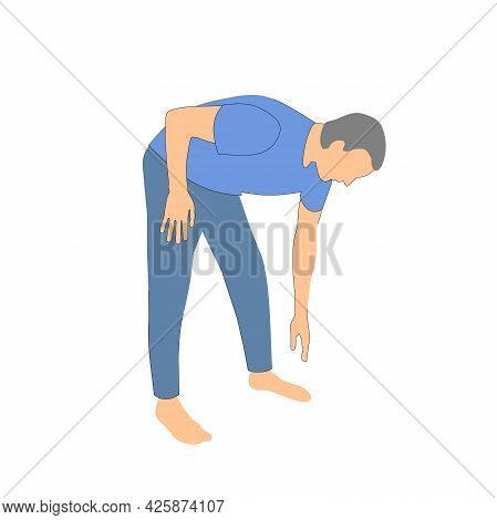 Man Leaned Forward. Posture Of A Person When Bending Over