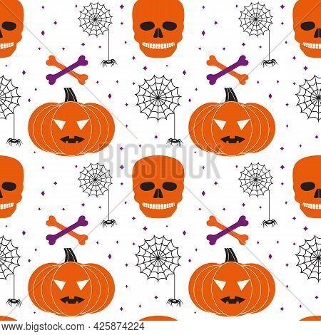 Halloween Holiday Funny Icons Seamless Vector Pattern. Cute Scary Pumpkin, Skull Bones, Black Spider