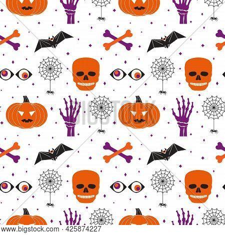 Halloween Holiday Funny Symbol Set Seamless Vector Pattern. Cute Pumpkin, Skull Bones, Black Spider