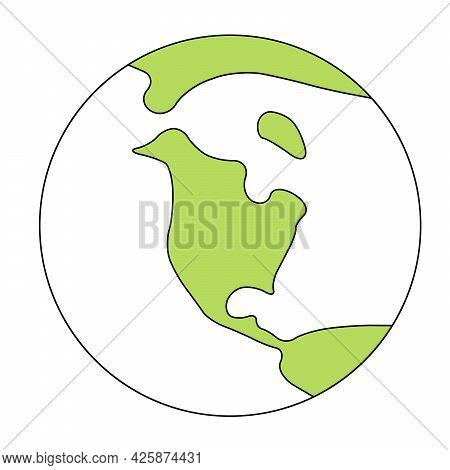 Simplified Outline Earth Globe With Map Of World Focused On North America. Vector Illustration.