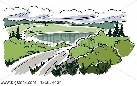 Country Road Stretching Over The Horizon Among Hills And Forests. Color Vector Illustration
