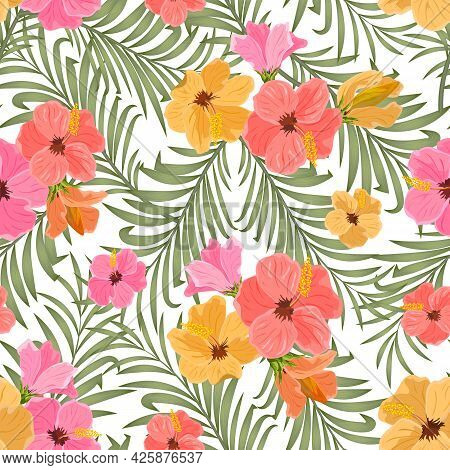 Hibiscus And Palm Leaves In A Pattern.vector Pattern Of Hibiscus Flowers And Palm Leaves On A White