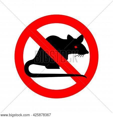 Stop Rat. Ban Big Mouse. Rodent Prohibitive Sign Vector Illustration