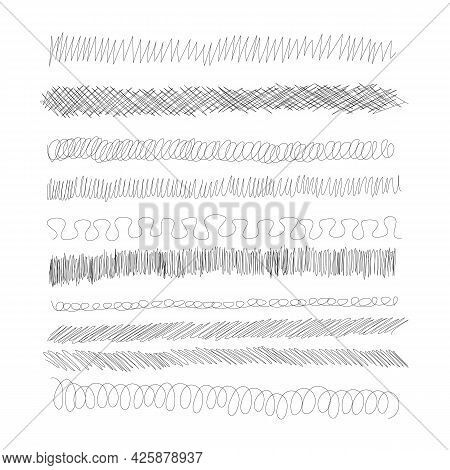 Ink Pen Scrawl Borders Collection - Various Rows Of Hand Drawn Scribble Line Drawings.