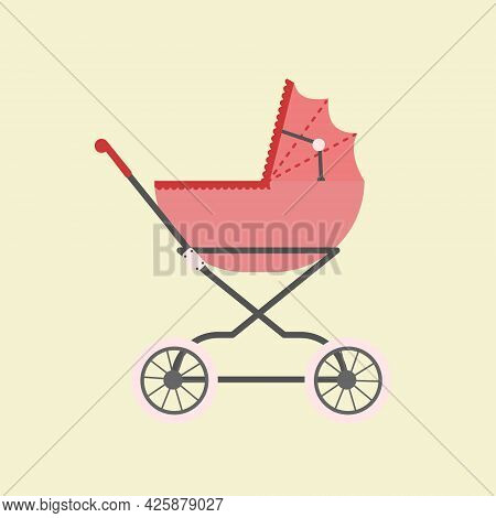 Baby Carriage Vector Illustration. Stroller Clip Art.
