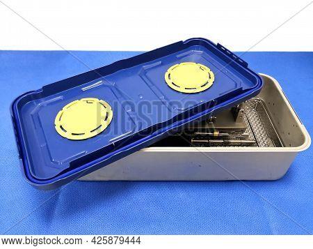 Closeup Image Of Filter System Rigid Sterilization Container. Selective Focus