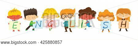 Design Concept Of Word English Website Banner. Vector Cartoon Illustration With Kids And Learning En