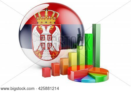 Serbian Flag With Growth Bar Graph And Pie Chart. Business, Finance, Economic Statistics In Serbia C