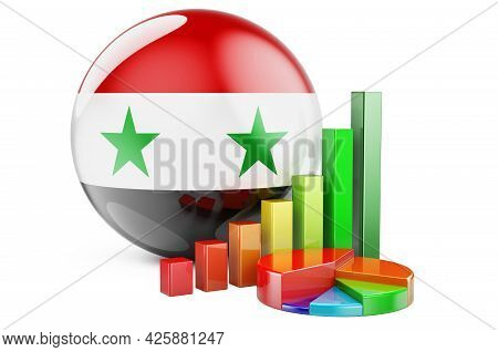 Syrian Flag With Growth Bar Graph And Pie Chart. Business, Finance, Economic Statistics In Syria Con