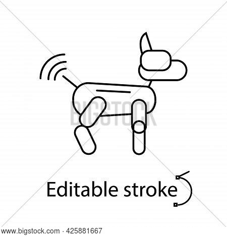 Futuristic Robot Dog Outline Icon. Radio Control From Internet. Cyberpunk Idea. Customizable Linear