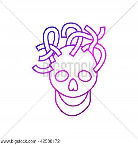Cyberpunk Skull With Wires Outline Icon. Futuristic Cyborg. Bio-robot Gadgets. Gradient Linear Purpl