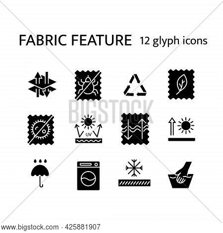 Fabric Quality Glyph Icons Set. Recyclable Fiber. Breathable Wear. Textile Industry. Different Prope