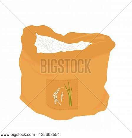 Rice Bag Vector Stock Illustration. Harvesting. Burlap. Isolated On A White Background.
