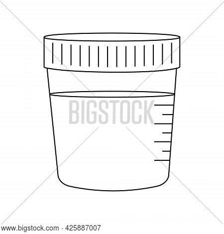 Urinalysis Outline Icon. Urine Sample In Plastic Container. Laboratory Examination And Diagnostics C