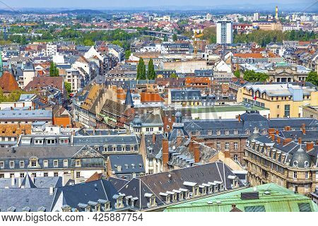 Skyline Aerial View Of Strasbourg Old Town, Grand Est Region, France. Strasbourg Cathedral. View To