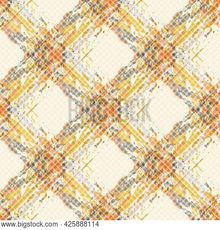 Vector Watercolor Effect Wicker Weave Seamless Pattern Background. Painterly Criss Cross Backdrop. W