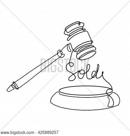 Judge Gavel One Line Art Icon. Auction Sale Logo. Outline Silhouette Hammer. Contour Illustration Is