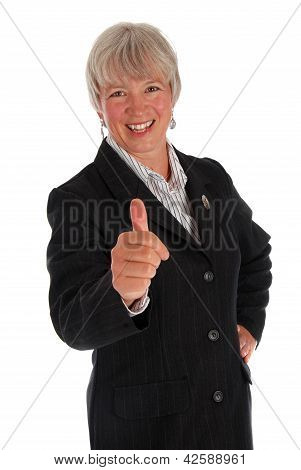Senior Business Woman Thumbs Up