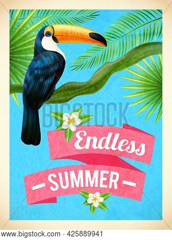 Endless Summer Vacation Travel Poster With Toucan Bird And Hibiscus Flowers In Rain Forest Abstract