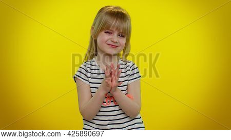 Cunning Sneaky Playful Child Girl With Tricky Face Gesticulating And Scheming Evil Plan, Thinking Ov