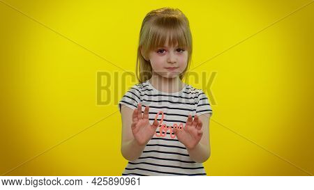 Hey You, Be Careful. Cute Kid Child Girl 5-6 Years Old Warning With Admonishing Finger Gesture, Sayi