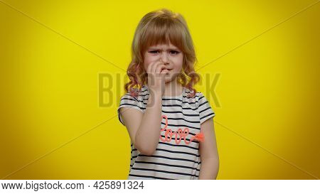 Dont Want To Look At This, Awful. Little Cute Blonde Teen Child Kid Girl Closing Eyes With Hand Show