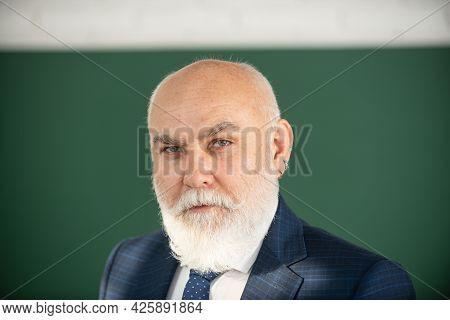 Old Male Teacher, Portrait. Closeup Face Of Professor Or Teacher On Blackboard Isolated.