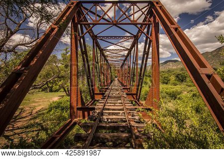Front View Of A Train Bridge From A Closed Train Line In Salta, Argentina.  Train Bridge From A Clos