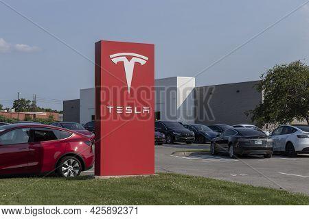 Indianapolis - Circa July 2021: Tesla Electric Vehicles Ev Car And Suv Dealership.  Tesla Products I