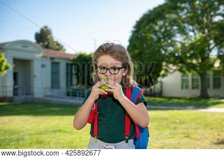 Cheerful Little School Boy In School Uniform With Big Backpack Standing Near School. Back To School.