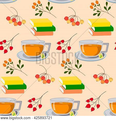 Pattern With Tea And Books And Autumn Berries. Vector Illustration. Autumn Illustration. For Use In