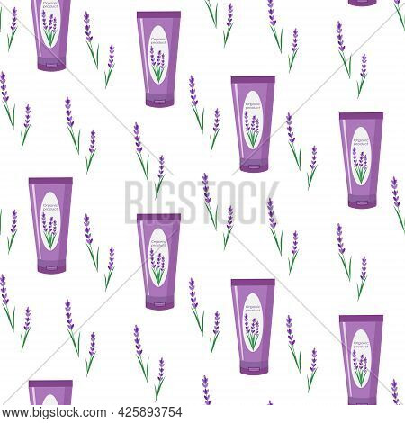 Pattern With Lavender And A Tube Of Cream. Natural Organic Cosmetics For Care. Vector Over White Bac