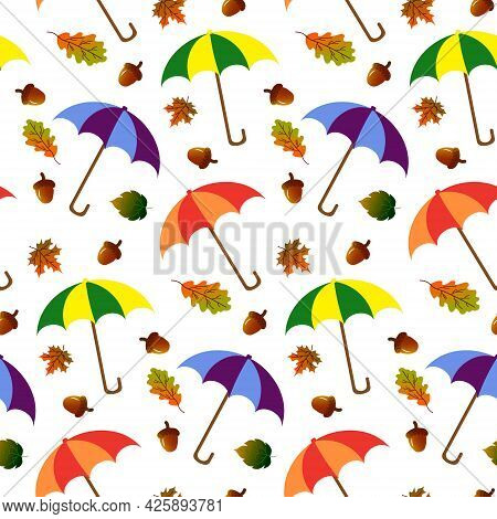 Pattern With Umbrellas, Autumn Leaves And Acorns. Vector Illustration. Plants Composition. For Use I