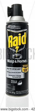 Winneconne, Wi - 5 July 2021:  A Package Of Rais Wasp And Hornet Spray Killer On An Isolated Backgro