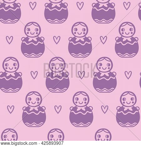 Vector Seamless Pattern With Childish Cute Print With Tumbler Toy And Hearts