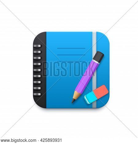 Notebook With Pencil And Eraser 3d Vector Design Element For Mobile Application Or Website. Notepad