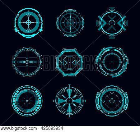 Hud Aim Control, Futuristic Target Or Navigation Interface Vector Design Of Game Ui Or Gui. Military