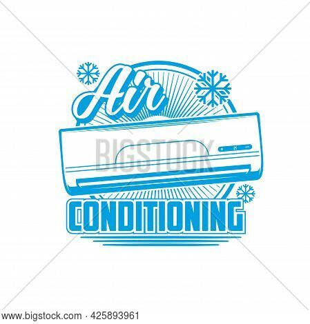 Air Conditioning Icon, Conditioners And Split Systems Vector Emblem. Home Air Conditioners, Cleaning