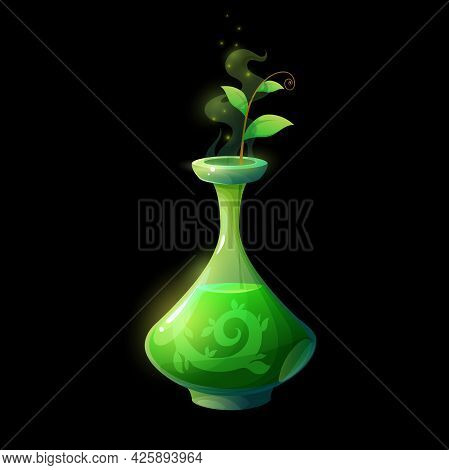 Potion Bottle With Green Sprout, Vector Glass Flask With Magic Elixir And Plant Branch With Leaves,