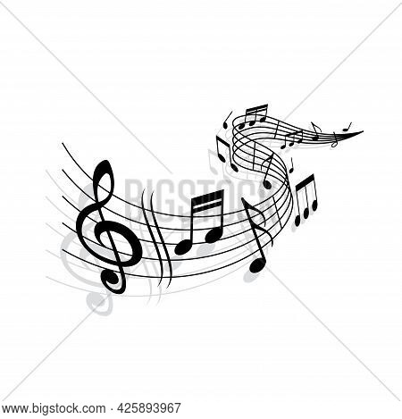 Music Wave, Vector Musical Notes And Treble Clef Signs On Curvy Stave. Monochrome Melody Swirl For J