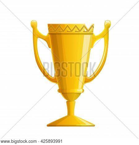 Golden Trophy Cup Vector Icon With Isolated Winner Or Champion Award. Cartoon Gold Goblet Or Bowl Wi