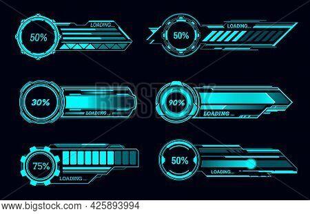 Hud Futuristic Loading Bars And Sci Fi User Interface, Vector Digital Technology Panel. Hud Download